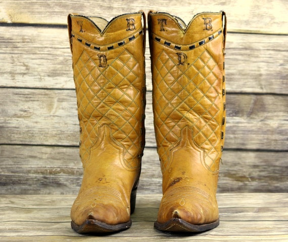 Cowboy A 8 Size Leather Boots Western Tan Brown Wear Old Mens Narrow Vintage qd1pOAwA