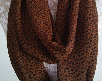 Black and Camel Chiffon Scarf, Infinity Scarf, Womens scarves, scarf, eternity scarf, accessories, circle scarf, gift for her