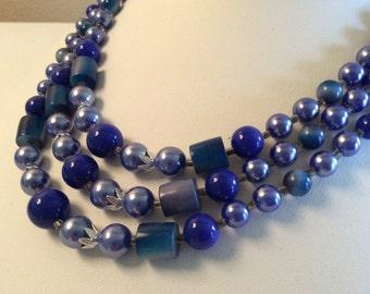 Vintage Japan Triple Strand Blue Plastic Bead Necklace