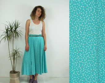80's vintage women's high waisted blue patterned skirt