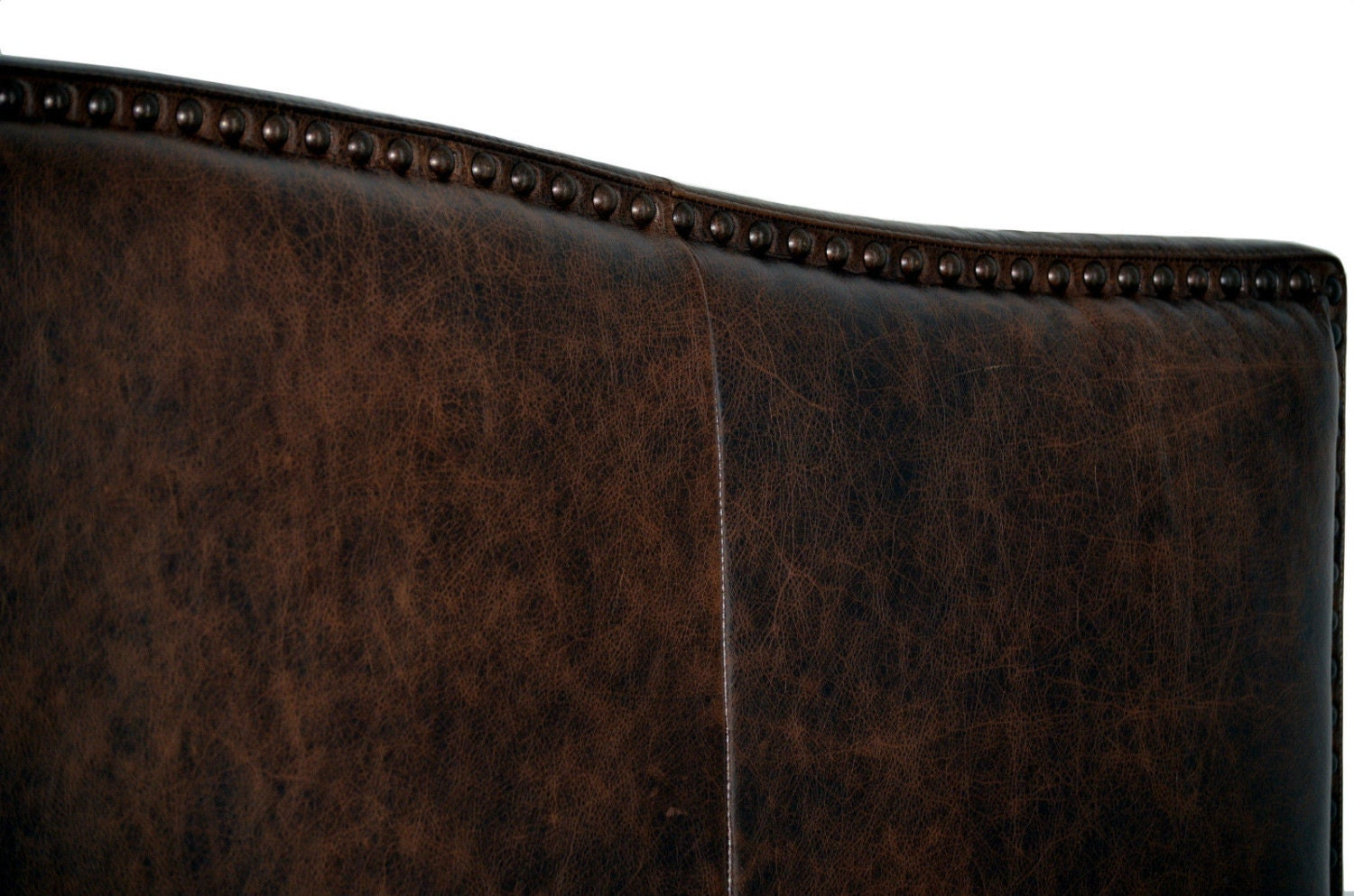 California King Size Antique Brown Leather Headboard For