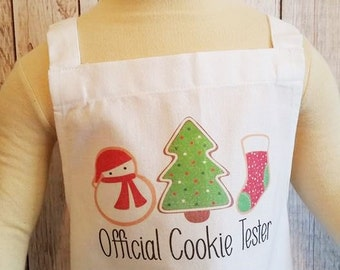Christmas cookies,Child's Christmas apron,Child's baking apron