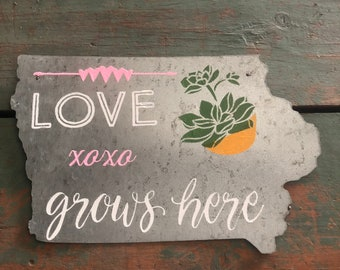 "Iowa Galvinized Metal Sign ""Love Grows Here"" XOXO by JunkFx"