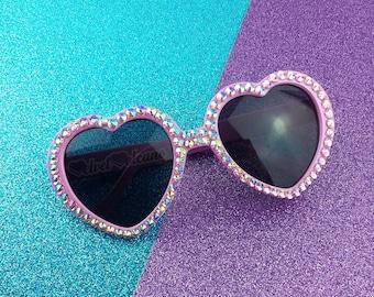 SAKURA Heart Sunglasses, Baby Pink Sunglasses, Sparkly Sunglasses, Pastel Rainbow, Glitz Sunglasses, Kawaii Lolita, Bling Sunglasses, Decora