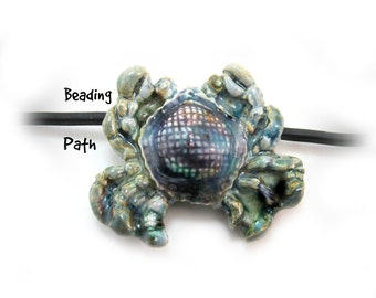 Pendant bead, Focal bead, Handmade ceramic bead, clay bead, crab bead,     # 39