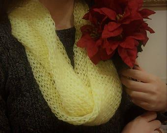 Lemon Infinity Scarf, soft yarn
