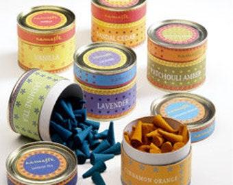 Mehindi pots of 40 incense cones cinnamon orange