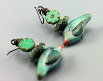 Rustic Earrings, Cottage Chic Earrings, Rustic Bird Earrings, 540-114