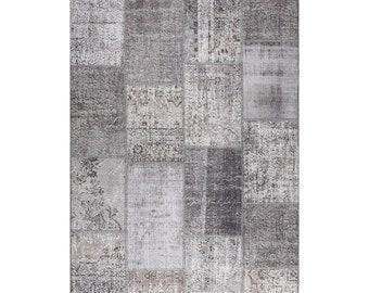 Patchwork Rug Made from Vintage Remnants