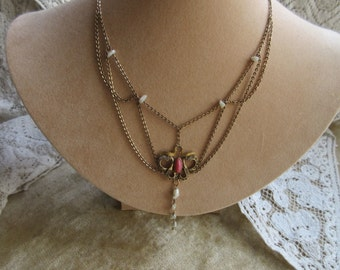 Edwardian Festoon Necklace, Antique Necklace, Art Nouveau Festoon,Antique  Paste Stones, River Pearl Festoon Necklace  Gold Fill, Bridal