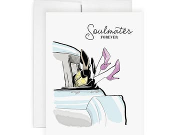 Soulmates -  Greeting Card, Fashion Illustration, Wedding Card, Shower Card, Engagement Card, Love Card, Relationship Card