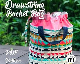 Drawstring Bucket Bag - PDF Sewing Pattern - Drawstring Bag - Bucket Bag - Lunch Tote - Small Tote