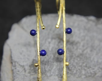 Lapis Lazuli Earrings Gold-plated 925 sterling silver