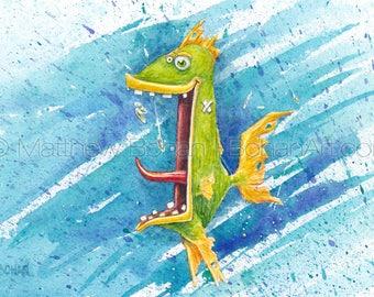 "PRINT of ""Trashfish"" Crazy Fish, Fish Art, Fish Painting, Fish Print, Watercolor, Fishing Gift, Funny Fish, Cartoon, Caricature, Kids Room"