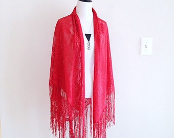 Vintage Red Lace Shawl very Vanessa Ives