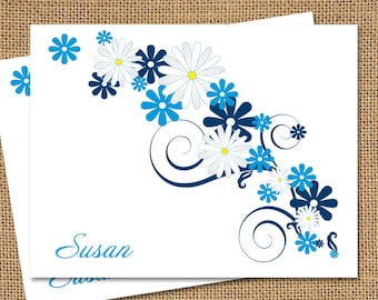 Personalized Stationery - Blue Daisies (Set of 10)
