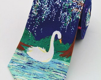 Ties with Swans – Swan Necktie for Weddings.