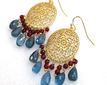 London Blue Topaz, Garnet, 22kg Vermeil Elegant Chandelier Earrings...
