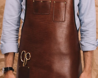 Heavy Duty Leather Apron – Tan Leather Apron - Custom Apron - Barista's Apron – Chef – Barber – Hair Stylist - Handmade | by BLUE & GRAE