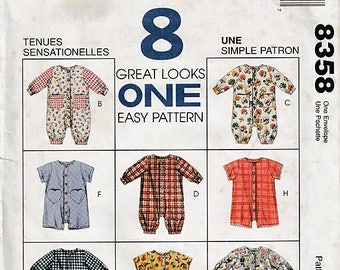 ea1f96fd512 Infants  Jumpsuit or Romper with Snap Crotch   Original McCall s Uncut  Sewing Pattern 8358