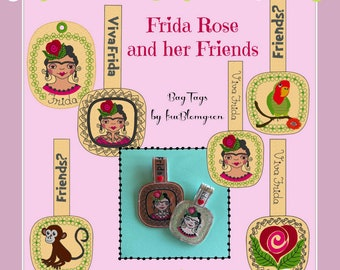 9 ITH BAG TAGS with my Frida Rose and her cute friends: Little Parrot and Little Monkey, machine embroidery designs for bag tags in 2 sizes
