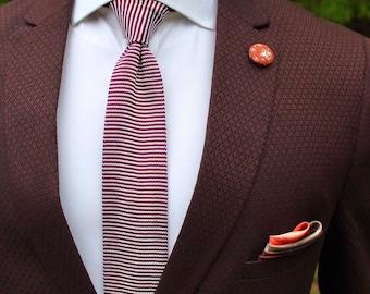 Red Knitted Neck Tie,Boyfriend Gift Men's Gift Anniversary Gift for Men Husband Gift Wedding Gift Gift For Him Groomsmen Gift Gift for Frien