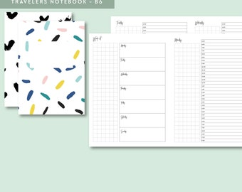 TN B6 | UNDATED Timed Day on 1 Page, Printable Travelers Notebook Insert, B6 Travelers Notebook, Printable Planner, Weekly, DO1P, Grid Notes