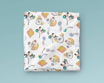 Organic Cotton Gauze Swaddle Blanket - Dreaming Print