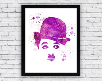 Charlie Chaplin Watercolor print, Charlie Chaplin Printable Wall Art, Charlie Chaplin wall decor, Charlie Chaplin poster