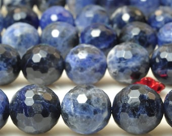 37 pcs of  A Grade--Natural Blue Sodalite Stone faceted round in 10mm