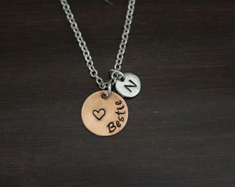 Bestie Necklace - Hand Stamped Necklace - Best Friend Gift - Friend Gift - Bestie Gift - Bestie Present - Best Friend Necklace - I/B