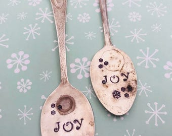Spoon ornaments. Christmas ornaments. Silverware ornament. spoon ornament. Joy spoon ornament... Christmas Ornament