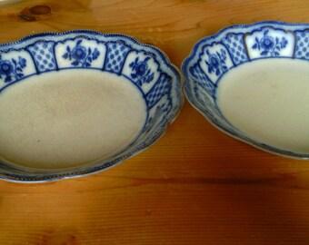 Two Antique MELBOURNE Flow Blue China Soup Bowls  By W.H. Grindley