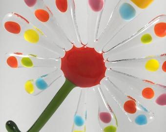 Multicolor Fused glass Flower suncatcher