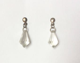 Vintage 1980's Silver & Clear Lucite Crystal Dainty Dangle Drop Earrings