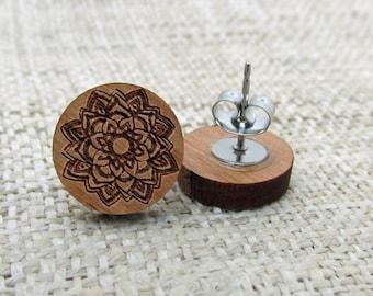 Mandala Wooden Post Stud Earrings - Graphic Design Wood Earrings - Mandala Earrings