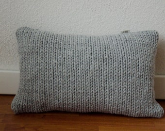 Knitted pillowcover cold gray | lumbar pillowcover