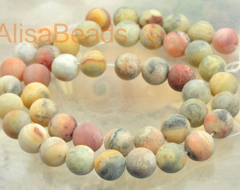 Natural Crazy Lace Agate,. matte round ,beads, 8mm,15 inches