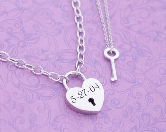 Engraved Locking Necklace - Heart and Key - Locking Day Collar - Heart Lock Necklace - Locking Jewelry - Key Necklace - Engraved Jewelry