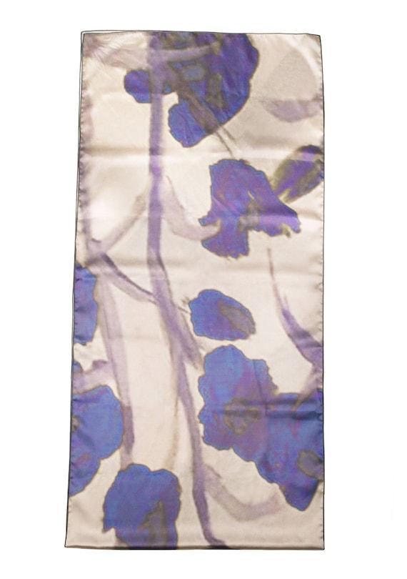 Floral Scarf, Satin scarf, Soft Scarf, Printed Scarf, Neck Wrap, Wedding Shawl, Elegant Scarves, Women's Clothing Wearable Art