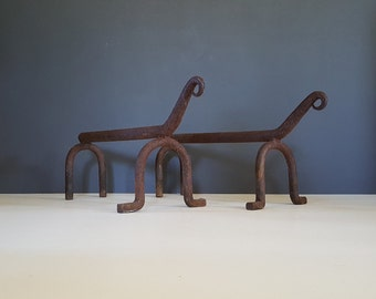 Modernist Andirons / Vintage Fire Dogs / Cast Iron Pair Of Mid Century Log Holders / Fireplace Grate / Hearth Decor