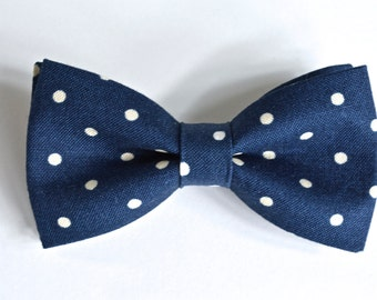 blue bow tie,navy blue boys bow tie, polka dot bow tie