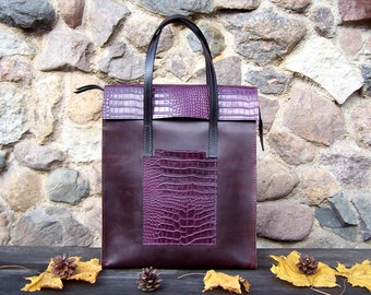 Leather handbag with a crocodile skin finish details, Leather Bag, Leather Tote Bag, Messenger bag, Work bag, Everyday handbag, Laptop bag