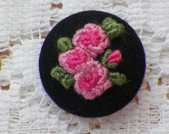 Handmade Embroidered Pink Roses Button / Embellishment / Embroidery, Signed Studio Button, Black Cotton Background, Garden, Rose Themed,