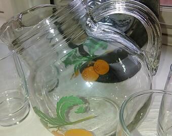 Vintage Hazel Atlas Orange Juice Tilted Pitcher Anchor Hocking Juice Glasses