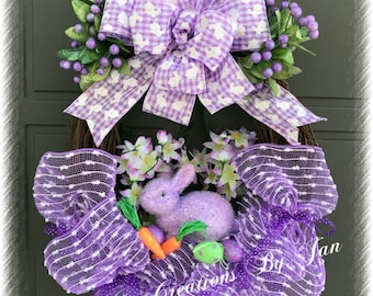 Easter Grapevine Wreath Bunny Easter Wreath Purple Easter Wreath