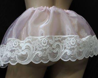 "Adult sissy -Cross Dresser-Sheer Organza PINK Satin SLIP SKIRT w/ Lace 10"" Long- Custom Made"
