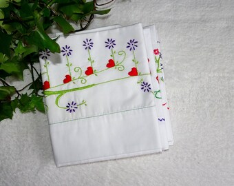 Pillowcase Embroidery Kit, Hearts & Fowers