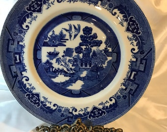 Large, Vintage SHENANGO, New Castle, Pa, Flow Blue, Blue Willow PLATE