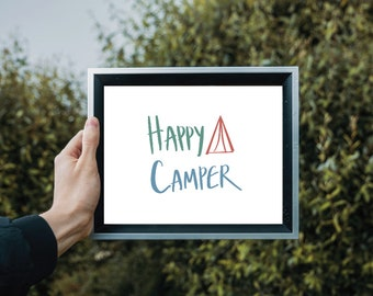 Happy Camper | 11x8.5 Inch Hand-Lettered Tent Poster